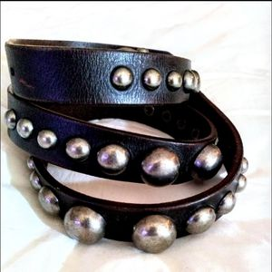 Accessories - Brown studded leather belt